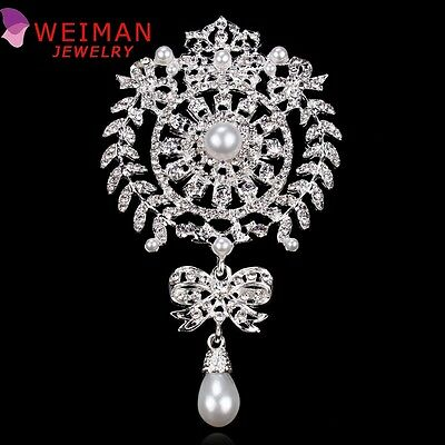 New Fashion Large Size Crystal Diamante And Imitation Pearl Drop Scroll Brooches
