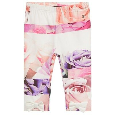 Roberto Cavalli Baby Pink Floral Leggings With Bows 24 Months