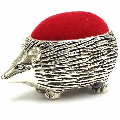Edwardian Style Hedgehog Pin Cushion Red Velvet Solid Sterling Silver 925