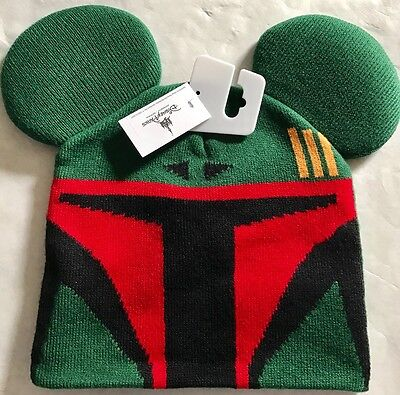 Disney Parks Boba Fett Beanie Hat With Mickey Ears - Youth Size NEW with Tags