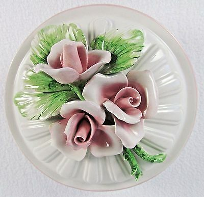 Italian Porcelain China Capodimonte Covered Dresser Vanity Dish Box Pink Roses