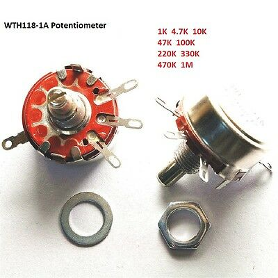 1 4.7 10 47 100 220 330 470 K M Ohm WTH118-1A(2W) Rotary Carbon Potentiometer