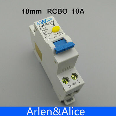 TOB3L-32F 18MM RCBO 10A 1P+N 6KA Residual current Circuit breaker