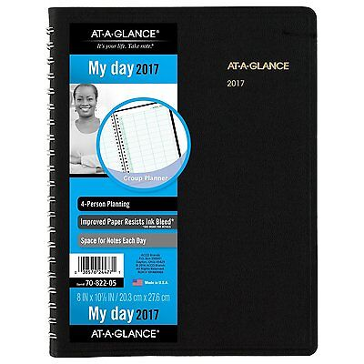 AT-A-GLANCE Daily Appointment Book / Planner 2017, 4 Person, Group Planner, 8 x