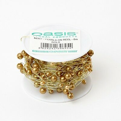 Pearls On A Reel-12 Different Colours- 4/6Mm X 8M Oasis Floral Floristry