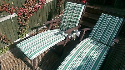 2 Posh Garden Patio Hardwood Folding Steamer Sunlounger Chairs with Cushions