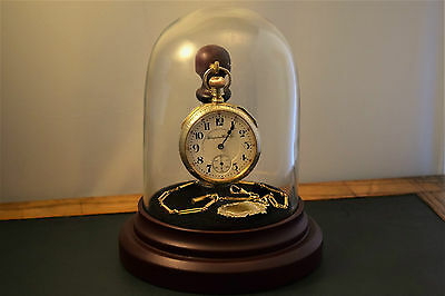 Antique Railroad  Hampden pocket watch 21j Serviced with Albert Chain and Dome