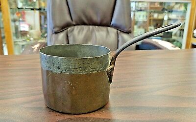 Antique Copper Dovetail Saucepot - 1800's Rare Size