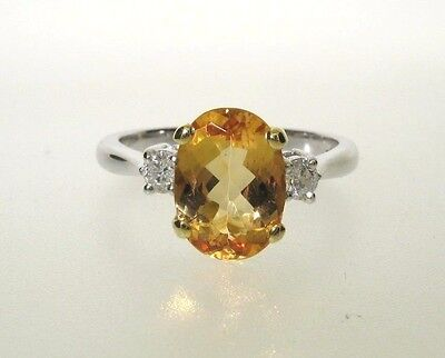 18Ct Gold Imperial Topaz And Diamond Ring