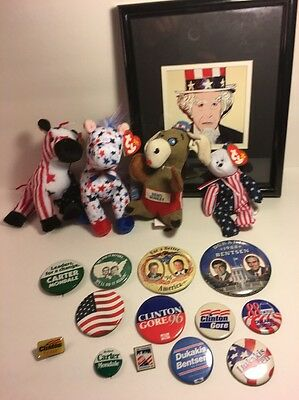 Democrats Political Party Campaign Buttons Donkeys Sam President Bill Clinton