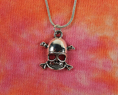 "Skull and Crossbones with Helmet Necklace, 16 18 20 22 24 26 28 30 or 36"" inch"