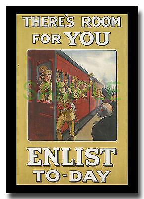 There's Room for You Enlist Today steam train WW1 framed repro poster Fry 1915