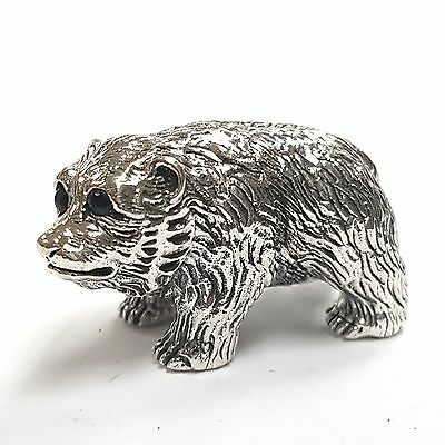Collectable Quality Victorian Style Bear Figurine Sapphire 925 Sterling Silver