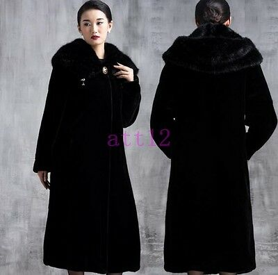 Faux  Fur Parka Coat Black New Women's Long Trench Warm Outwear Jacket Overcoat
