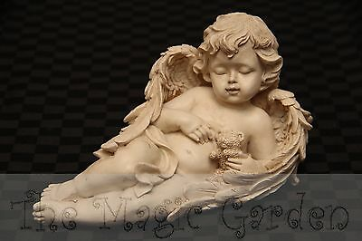 Lying Cherub Angel With Teddy Bear Cement Concrete Plaster Latex Moulds Molds