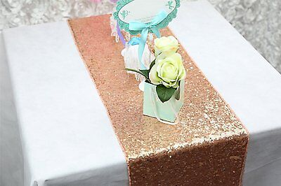 ShinyBeauty Sparkly Rose Gold Sequin Table Runner For Wedding/Events Decoration