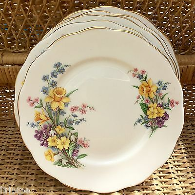 QUEEN ANNE 1950s BONE CHINA TEA PLATE - SPRING SONG - FLORAL DAFFODILS VIOLETS