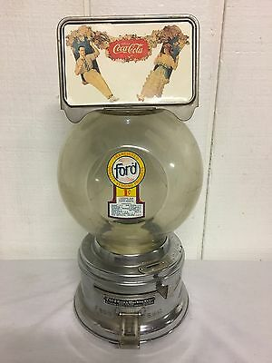 Vintage Ford Coca Cola Gum Machine 10 cent Vending Globe Coin Op peanut candy