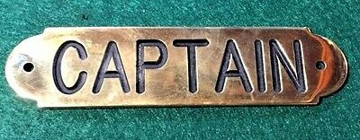 Ships Captain Plaque Sign Solid Brass Made in USA