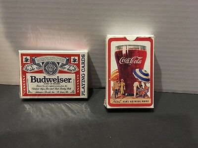 LOT 2 Playing Cards: Coca-Cola, Budweiser-Sealed