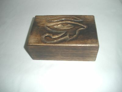"Eye of Horus Wood Box - 6"" by 4"" by 2.25""- Tarot/Jewelry"