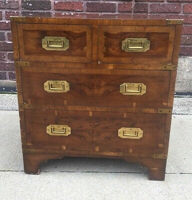 Antique 19th Century English Victorian Campaign Chest Nightstand