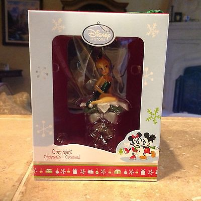 NEW Disney Store Poinsettia and Bells Tinkerbell Fairies Holiday Xmas Ornament
