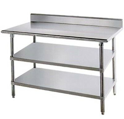 Commercial Stainless Steel Work Prep Table backsplash w/ 2 undershelves 24 X 48