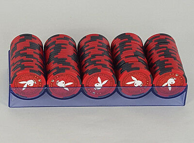 Playboy Las Vegas Casino Red Poker chips with tray - 100 Poker Chips 11.5g
