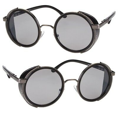 Vintage Retro Mirror Round SUN Glasses Goggles Steampunk Punk Sunglasses Black v
