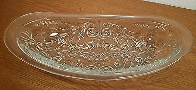 McKee ROCK CRYSTAL Oval Roll Tray EXC🌟