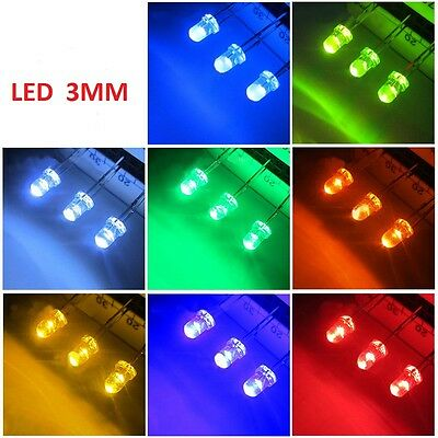 White 3MM Ultra Bright LEDs to Red/Blue/Green/White/Yellow Lamp Emitting Diode