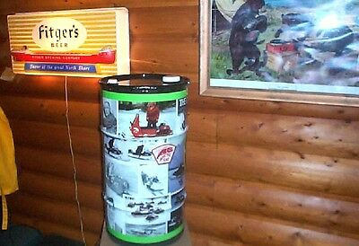 Vintage Metal Arctic Cat Snowmobile Graphic Outboard Gas Oil Can Sign 27inX14in