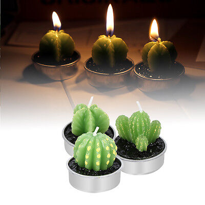 6Pcs/Set Artificial Cactus Candle Paraffin Birthday Party Indoor Decoration SS