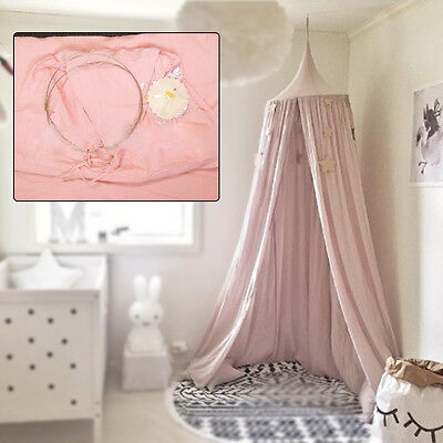Cotton Pink Canopy Bed Netting Mosquito Bedding Net Round Dome Kids Tents AU