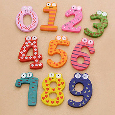 0-9 Number Wooden Fridge Magnets Baby Early Educational Learning Toddler Toys