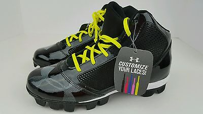 Under Armour Youth 5Y Boys Yard Mid RM JR Black Baseball Cleats Customize Laces
