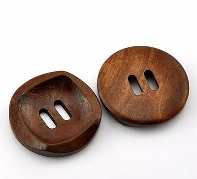 10 Beautiful Coffee Brown Wooden 4 Holes Round Wood Sewing Buttons 30mm