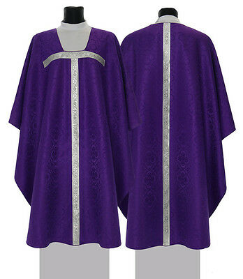 Violett Kasel mit Stola, Messgewand, Gothic Chasuble, Casula 049-F de