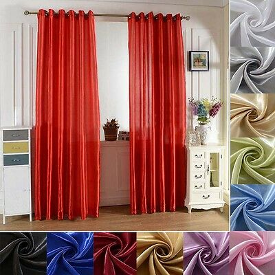 Solid Lined Panel Blackout Balcony Window Room Curtain Shade Drape Sheer Divider