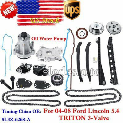 Timing Chain Kit Cam Phaser Water Pump Fit 04-08 Ford F150 5.4L TRITON 3-Valve