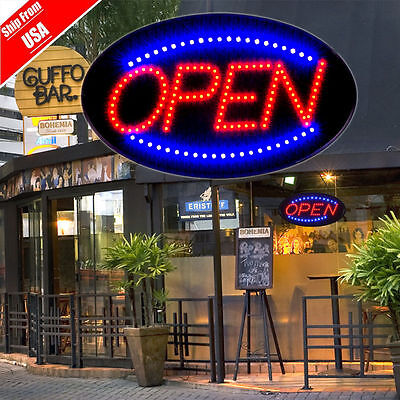 "Bright Animated LED Open Store Shop Business Sign 19x10"" neon Display Lights MAU"
