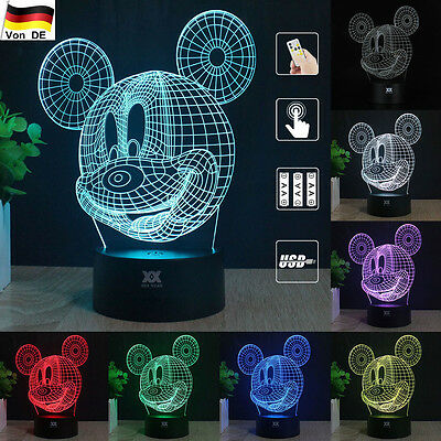 Micky Mouse 3D Acryl LED Tischlampe 7 Farb Tischleuchte Leselampe Nachtlicht