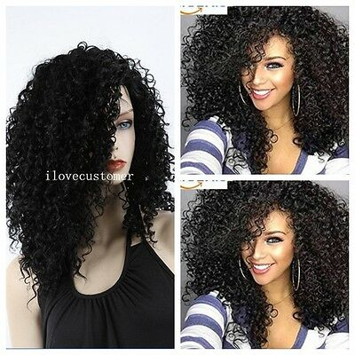 Cosplay  Heat Long Curly Hair Natural Black Anime Women Full Wigs Afro Fashion
