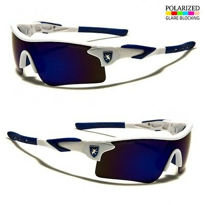 Polarized Mirror Lens Mens Fishing Cycling Baseball Sport Wrap Sunglasses BLUE p