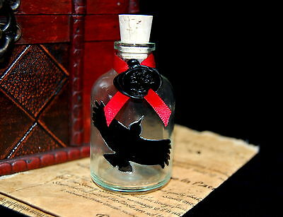 Potion Bottle with Raven design. Hand Decorated Wicca Pagan Witchcraft