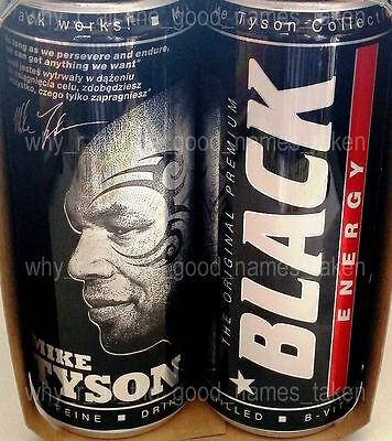 V Energy Drink Empty Tin Can : Boxing Legend MIKE TYSON Collection - Black