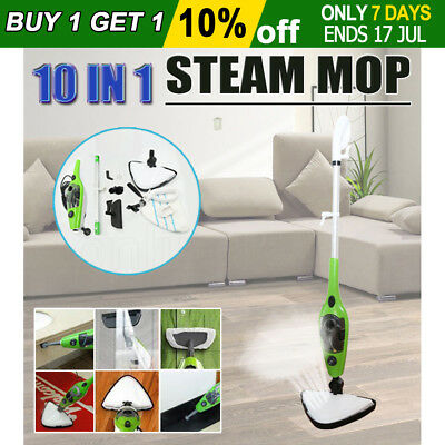 10 in 1 Multifunction Steam Mop Floor Steaming Cleaning Cleaner Carpet Kitchen