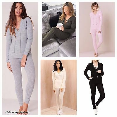 New Ladies Womens Girl Longsleeve Lace up Knitted Ribbed  Lounge Suit Set 8-14