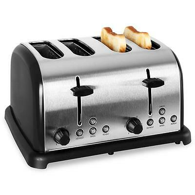 1650W Stainless Steel 4-Slice Toaster Extra Wide Slot Bagel Single Side Toasting